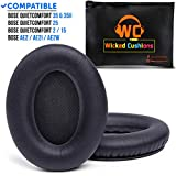 WC Premium Replacement Ear Pads for Bose QuietComfort Headphones Made by Wicked Cushions - Supreme Comfort - Compatible with QC25 / QC15 / QC2 / AE2 / AE2i / AE2W - Extra Durable | Black