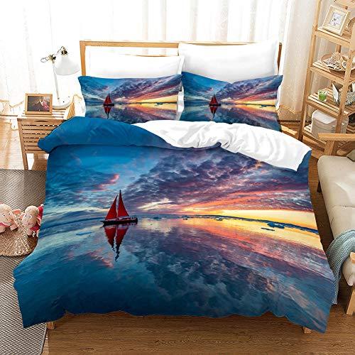 FAIEK Duvet Cover Double bed Dark cloud sea water 180x200cm Printed Polyester with Zipper Closure Bedding Easy Care Anti-Allergic Soft Smooth with Pillow Cases 3 pcs set,ocean sailboat landscape