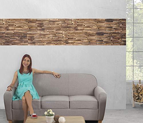 10x Wandverkleidung Holz Wandgestaltung in braun - 5