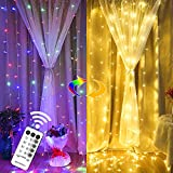 MAGGIFT 304 LED Curtain String Lights, 9.8 x 9.8 ft, Christmas Window Fairy RGB Color Changing Light 8 Modes & Remote, Backdrop for Indoor Outdoor Bedroom Wedding Decoration, Warm White & Multicolor