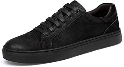 ZhengELE-Athletic Shoes Fashion Sneaker for Men Casual Flat Board Shoes Lace up Genuine Leather Outdoor Sports Athletic Running Skating Men's Casual Shoes (Color : Black White, Size : 44 EU)