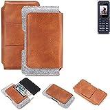 K-S-Trade Schutz Hülle Für Bea-fon AL250 Gürteltasche Holster Gürtel Tasche Schutzhülle Handy Smartphone Tasche Handyhülle PU + Filz, Braun (1x)