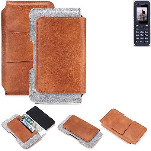 K-S-Trade® Schutz Hülle Für Bea-fon AL250 Gürteltasche Gürtel Tasche Schutzhülle Handy Smartphone Tasche Handyhülle PU + Filz, Braun (1x)