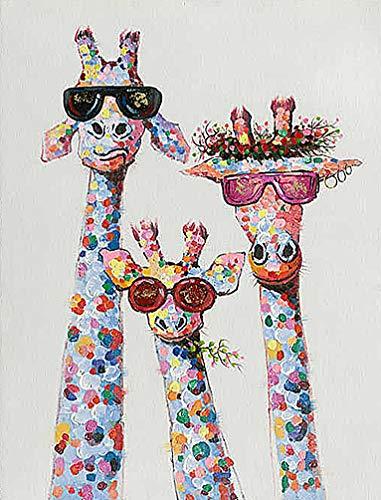 SULISO DIY Pintura por Números para Adultos Principiantes Pintar por Numeros Kit 40 cm x 50 cm Pulgadas Decoraciones para el Hogar - Cuadro al óleo bebé jirafa(con Marco de Madera)