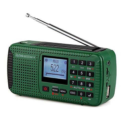 YZX Radio Solar de Emergencia, Radio de transmisión de prevención de desastres Am/FM/SW portátil con manivela para Exteriores, con iluminación de Linterna de Alarma SOS(Verde,12.6×6.2×4.3cm)