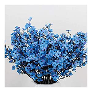 YYJHT Decorative Artificial Flowers Silk White Cherry Blossom Artificial Flowers Artificial Flowers Bouquet for Wedding Home Room Decoration Wholesale (Color : Blue)