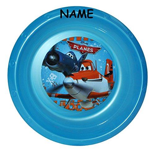 alles-meine.de GmbH Suppenteller / Suppenschüssel / Müslischale - incl. Namen - Kinderteller  Disney Planes Flugzeuge  - aus Kunststoff / Plastikteller Plastik - Geschirr für K..