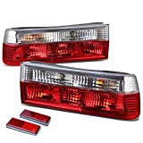 For BMW E30 3-Series Pair of Chrome Housing Red Rear Brake+Signal Tail Light