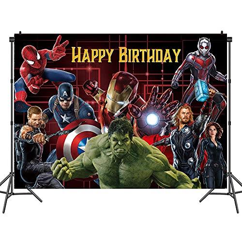Globos de Avengers Marvel telón de fondo de 2,1 x 1,5 m, decoraciones de cumpleaños de los Vengadores de Superhéroe, 48 unidades (XW-JY-22,8 x 1,5 m)