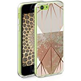 kwmobile TPU Case Compatible with Apple iPhone 5C - Case Soft Crystal Clear IMD Design Phone Cover - Triangular Shapes Beige/Rose Gold/White