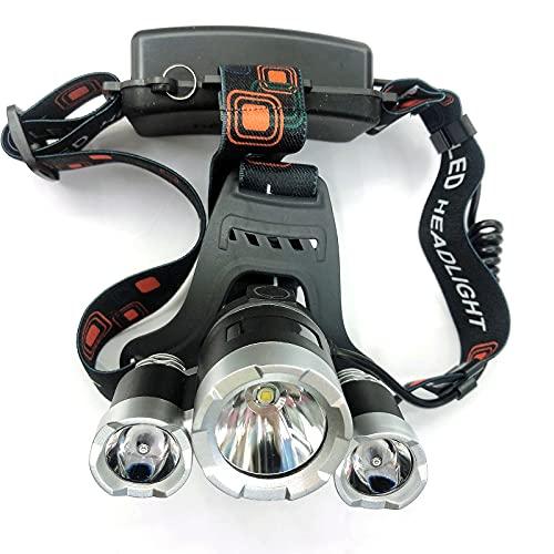 Faro LED Impermeable 3000 Lúmenes Lámpara de Cabeza Brillante Recargable 4 Modos de Luz de Casco Duro para Adultos Al Aire Libre Pesca Camping Caza Senderismo