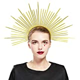 Fantherin Mary Halo Crown Headband Goddess Zip Tie Spiked Halo Crown Halloween Costume Headpiece Headdress for Cosplay Party (Gold)