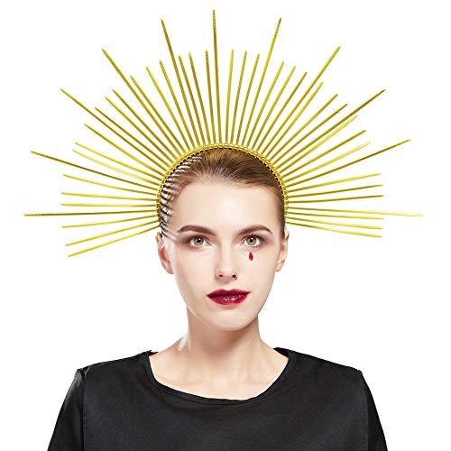 Fantherin Heiligenschein Haarreif Damen Mary Halo Krone Sonnengott Cosplay Halo Stirnband Karneval Kopfschmuck Damen Fasching Kostüm Accessoires (Stil 2 - Gold)