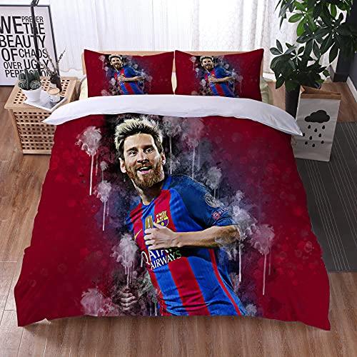 AINYD Messi Bettwäsche 200x200cm, FC Barcelona Bettbezuge, 3D HD-Druck Bettwäsche Set, 1 Bettbezug mit Reißverschluss + 2 Kissenbezug, Geeignet für Erwachsene & Kinder