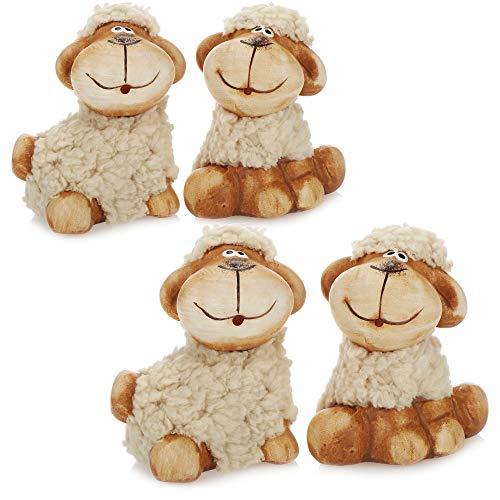 com-four® 4X ovejita de Peluche Decorativa con Piel - Figuras Decorativas para decoración de Pascua - Oveja de Pascua con Piel Beige [¡la selección varía!] (Beige - pequeño)