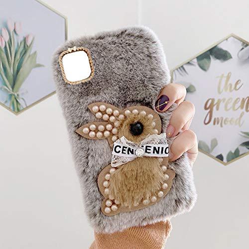 YHY M12 Estuche Teléfono Móvil Estilo Lindo 3D Perla Linda Peluche De Conejo para Samsung Galaxy M12 Marrón