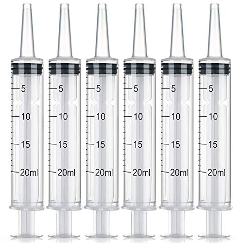 Acehome 6 Pack 20ml Syringe, Large Plastic Syringe with Measurement for Lip Gloss, Scientific Labs, Dispensing, Measuring Liquids, Feeding Pets, Oil or Glue Applicator, Without Needle