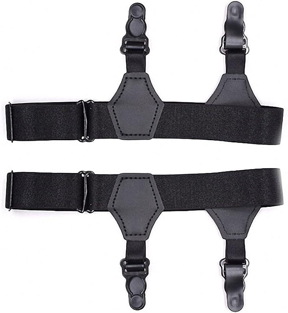 Black Women Men 2Pcs Socks Garters Belt Suspenders Double Clips Fashion