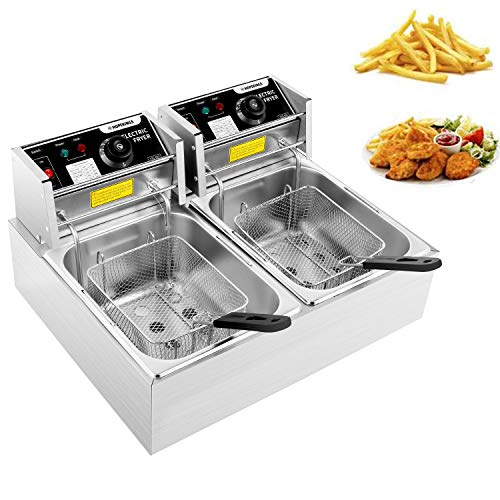 Heavy Duty Deep Fryer, 12.7QT/12L Stainless Steel Large Double Cylinder Electric Fryers with Removable Basket and Professional Heating Element, 110V/5000W Max US Plug (12L)