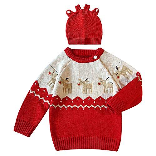 De feuilles Chic-Chic Pull Garçon Fille Père Noël Bonnet Pull-Over Tricot Sweater Knitting Imprimé Sweat-Shirt Cute Chaude Hiver 4ans Rouge