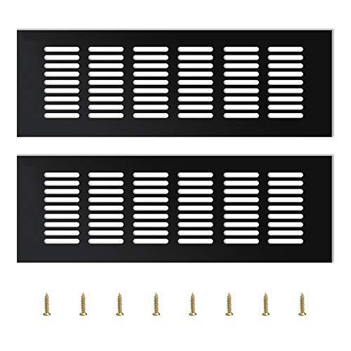 YQ 2 Piezas Rejilla de Ventilación,Rejilla de Ventilación Metalica Ventilación para Armarios Rejilla Aluminio,Negro(25 * 8 * 1.5cm)