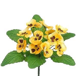 "Silk Flower Arrangements 10"" Silk Pansy Flower Bush -Yellow (Pack of 36)"