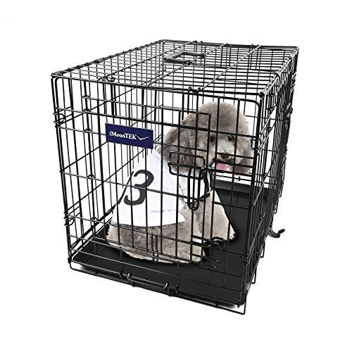 iMounTEK 【Small 24 INCH】 Folding Metal Pet Dog Puppy Cat Cage Crate Kennel W/Tray. 2 Doors Wire Cage for Training, Removable & Washable Pan Tray [Rust Resistant] Quick Assembly!