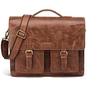 51Vg1PjNA2L. SS300  - LEABAGS Miami maletín de auténtico Cuero búfalo en el Estilo Vintage - CrazyVinkat