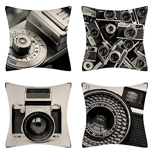 Jenboo 4 Piezas Fundas de Cojines, 70x70cm/28x28in cámara Throw Pillow Case Almohada de Lino Fundas de Almohada Decorativa Cuadrada Funda para Cojines para Hogar Oficina Coche Funda de Cojín L499