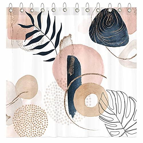 "Funnytree Abstract Mid Century Shower Curtain Set with Hooks Geometric Floral Plant Neutral Bathroom Minimalist Modern Art Bathtub Decor Easy Care Washable Durable Polyester Fabric 72""x72"""