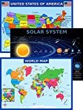 World Map Poster, United States USA Map, Solar System Posters for Kids - Laminated, Size 14x19.5 in.- Educational...