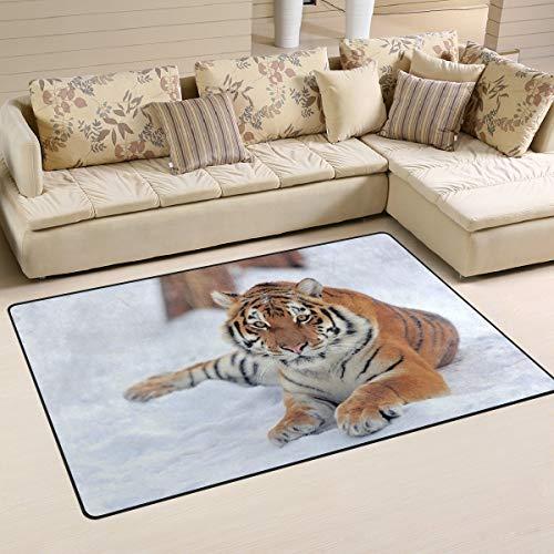 Alfombra antideslizante para decoración del hogar, elegante y hermoso animal de tigre siberiano silvestre sobre nieve, tapete para el suelo, sala de estar, dormitorio, felpudos de 152 x 99 cm