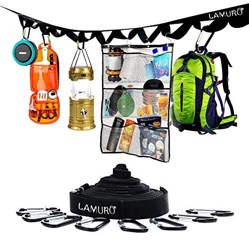LAMURO Hängender Netz-Camping-Organizer mit Camping-Aufbewahrungsgurt; tragbarer Netz-Caddy, Shampoo-Halter, Organizer, 6 Taschen, Hängeorganizer und Aufbewahrungsgurt mit 8 Haken