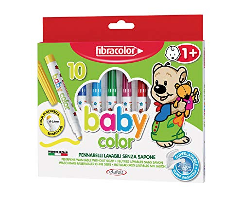 Fibracolor Baby Color confezione 10 pennarelli punta di sicurezza superlavabili solo con acqua
