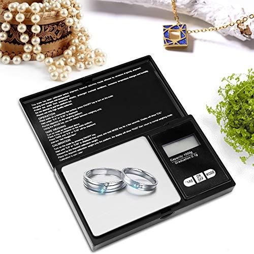 Digital Jewelry Scale, Mini Electronic Jewelry Carat Scale Balance Portable High Precision LED Digital Pocket Scale Gold Silver Diamond Jewelry Stone (1000g/0.1g)