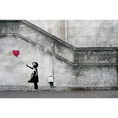 GREAT ART® XXL Póster – Banksy Niña con Globo – Mural Balloon Girl Siempre Hay Esperanza, Estilo Urbano En Londres Arte Callejero Plantilla Cartel Foto Y Decoración (140 X 100 Cm)