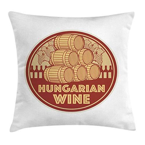 ABAKUHAUS Hongarije Sierkussensloop, Vintage Hongaarse Wijn Text, Decoratieve Vierkante Hoes voor Accent Kussen, 60 cm x 60 cm, Red Mustard en Beige