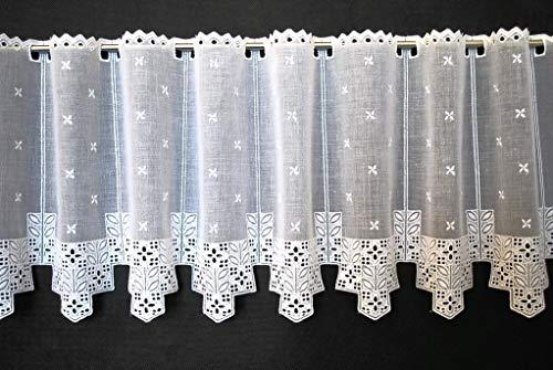 Tenda della finestra Batiste con ricami elaborati   Può scegliere la larghezza in segmenti da 10,5 cm, come vuole   Colore: Bianco