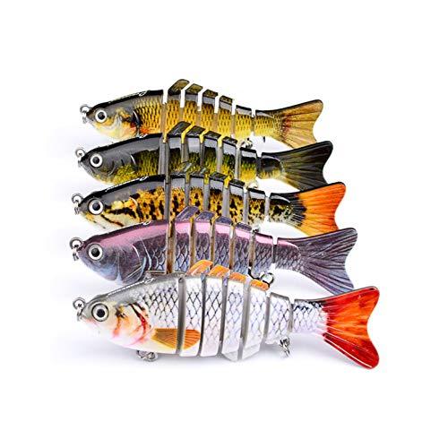 CHSEEO 5PC Señuelos de Pesca Multi-articulado Cebo Duro Swimbait Cebo de Pesca Crankbait Gancho Agudos Cebos Artificial 7 Segmento 10 cm/ 15.5g (Colores aleatorios)#4