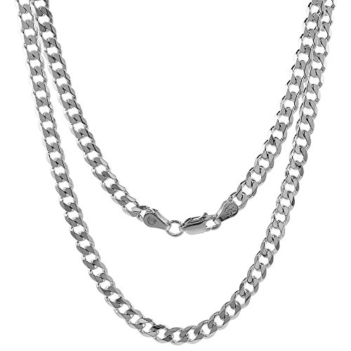 Hot Sale Sterling Silver Italian Curb Chain Necklace 4.5mm Beveled Edges Nickel Free, 30 inch