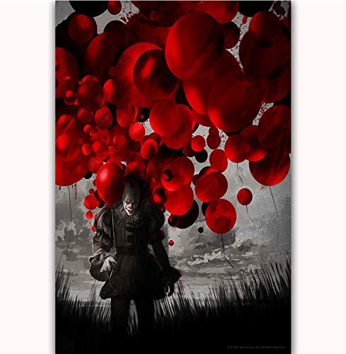 NOVELOVE Wandkunst Bild 2017 Film Pennywise Stephen King Horror Poster Drucken Leinwand Malerei Ohne Rahmen 50 * 70 cm