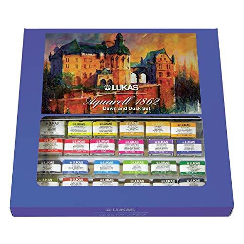 Lukas Aquarell Artist Professional Watercolor Paint Set, DAW & Dusk Themed Watercolors, 24 Whole Pans
