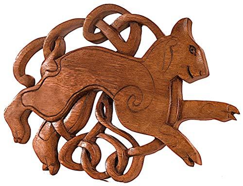 Windalf Celtic Vintage Holzbild BYGUL 25 cm Viking Freyas Katze Pagan Wandbild Keltische Knoten mit Luchs Wandrelief Holzdeko Handarbeit aus Holz