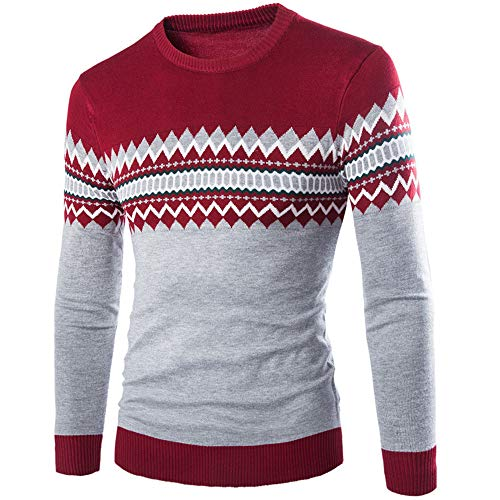 Herren Pullover Stricken Sweater Einfarbig Slim-Fit Gemütlich Casual Daily Wear Color Matching Streetwear Frühling und Herbst Neu Sweatshirt Winter Bottoming Shirt XXL