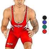 Men's Wrestling Singlet Uniform, Elite Sports Star Series Advanced Singlets for Men Wrestling (Red, XS)