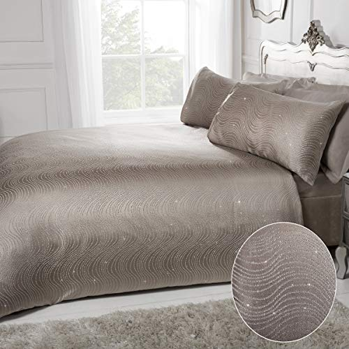 Sleepdown Swirl Striped Glitter Taupe Jacquard Easy Care Duvet Cover Quilt Bedding Set with Pillowcases - Super King (220cm x 260cm)