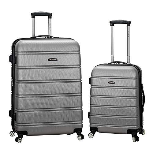 Rockland Melbourne Hardside Expandable Spinner Wheel Luggage, Silver, 2-Piece Set (20/28)