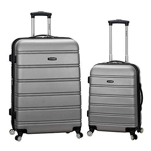Rockland Melbourne Hardside Expandable Spinner Wheel Luggage, Silver, 2-Piece Set (20/28)