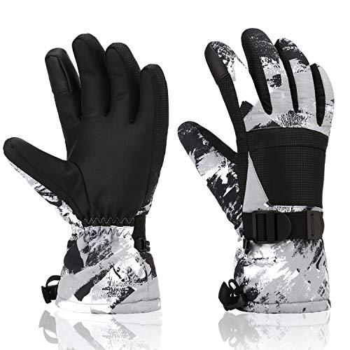 Yidomto Winter-Skihandschuhe, wasserdicht, warm, mit Touchscreen, Schneehandschuhe für Herren, Damen, Jungen, Mädchen, Kinder (schwarz grau-L)