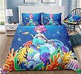 GD-SJK Chica Niños Ropa de Cama Ocean Girl & Sirena Mermaid mágica bajo Agua Mundo Turquesa, Rosa, Rosa – Almohada 75 x 50 + Funda Nórdica Microfibra Edredones (C, 150x200cm)